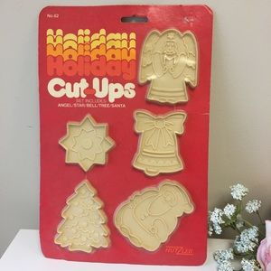 NOS 1981 Cookie Cutter Press Christmas Holiday Set